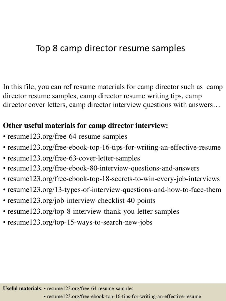 top8campdirectorresumesamples 150410084314 conversion gate01 thumbnail 4 jpg cb 1428673446