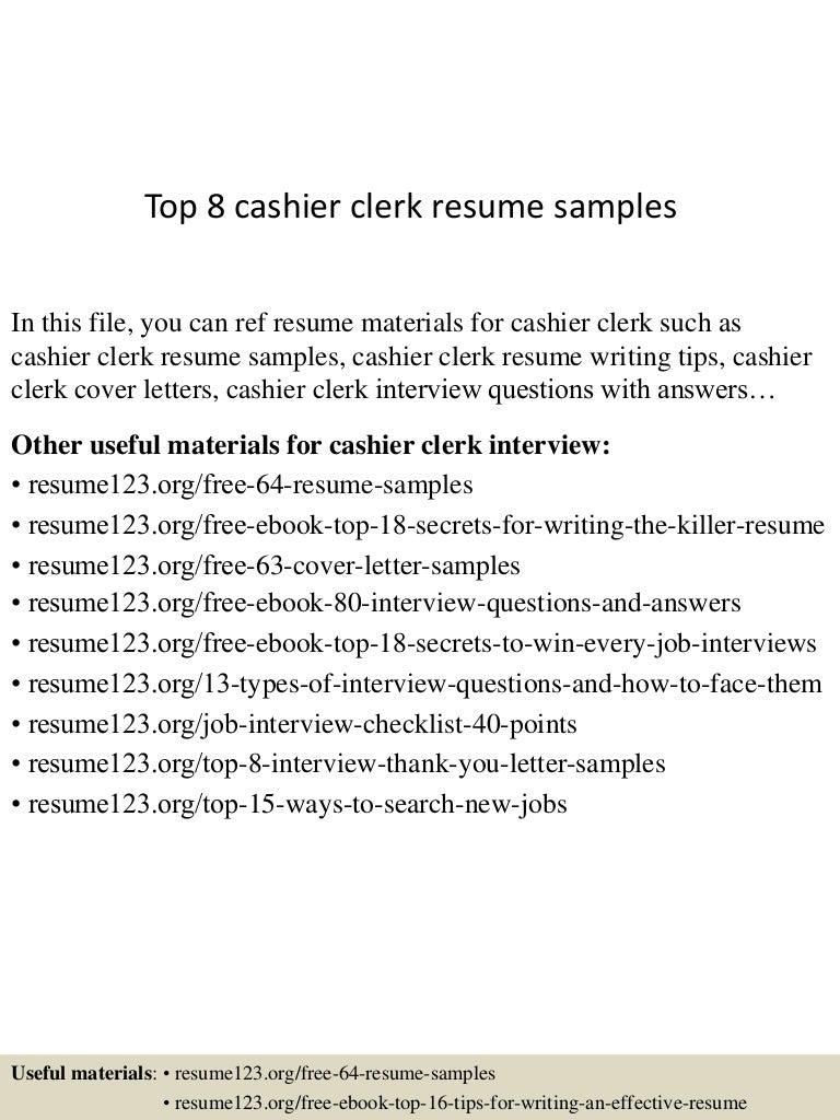 Top 8 cashier clerk resume samples