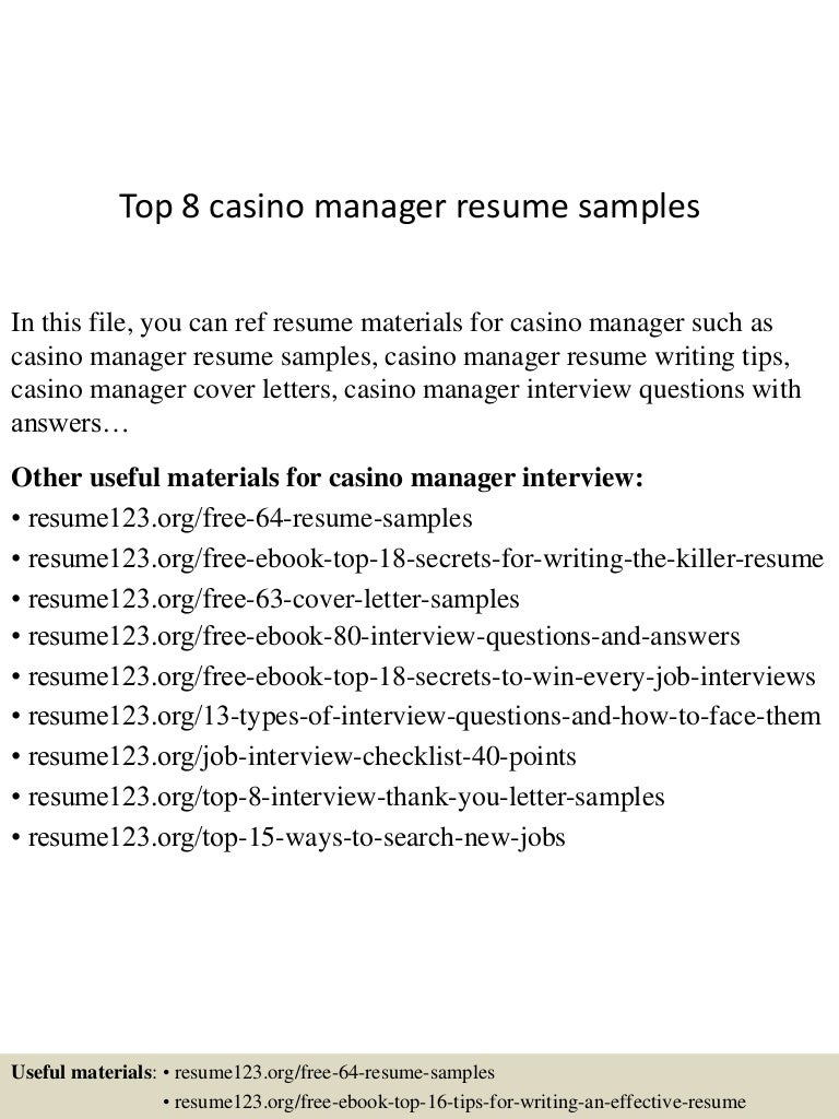 casino manager resumes