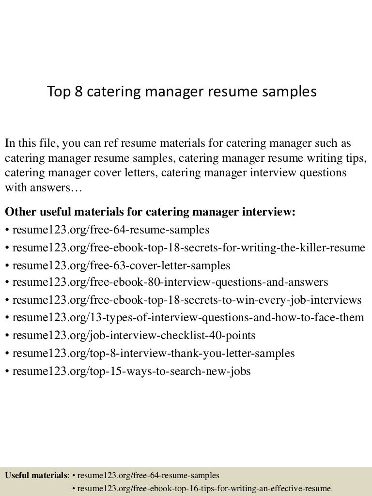 catering resume sample car sman resume samples sample cover gate01 thumbnail 4jpg cb 1429928598 top8cateringmanagerresumesamples 150424212235 conversion gate01 thumbnail 4 top 8 catering manager resume samples