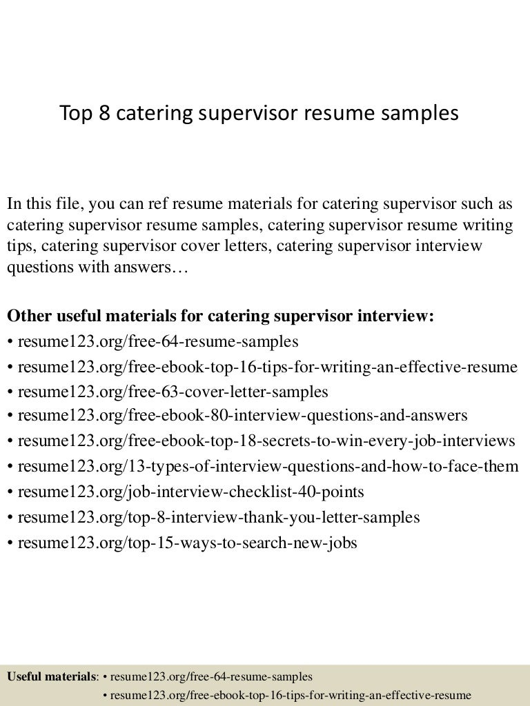 Catering Supervisor Cover Letter medical office specialist sample ...