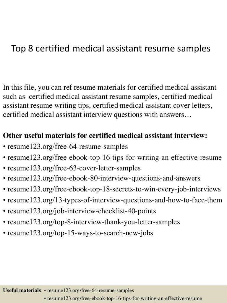 Certified Medical Assistant Resume Sample Medical Assistant