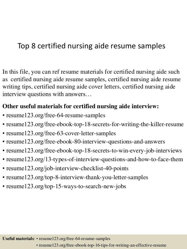 Top 8 certified nursing aide resume samples