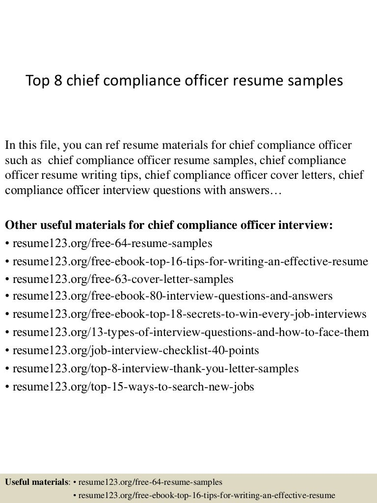 top8chiefcomplianceofficerresumesamples 150408081344 conversion gate01 thumbnail 4 jpg cb 1428498867