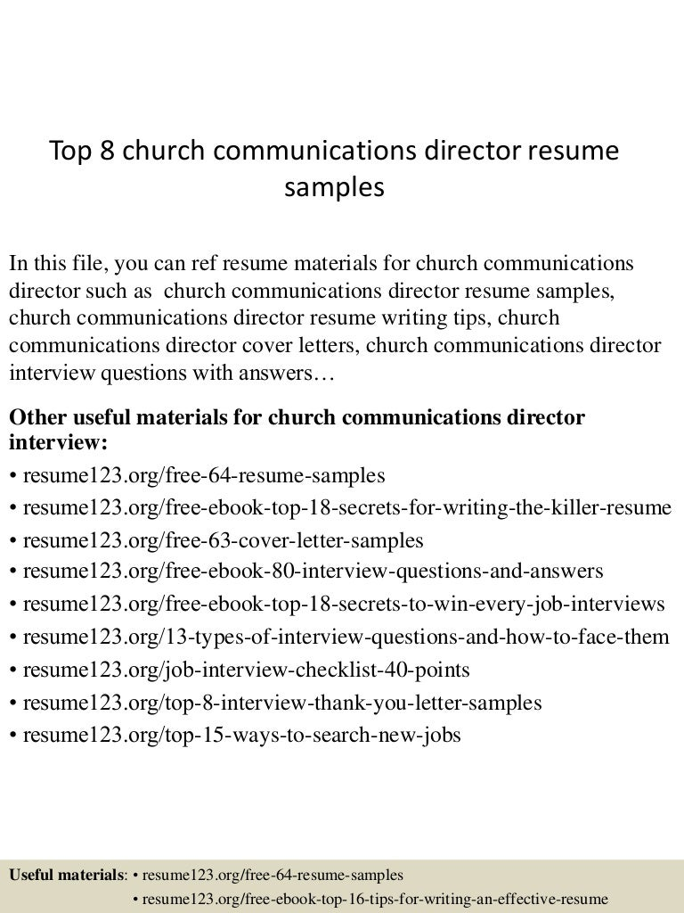 Church Communications Director Cover Letter Postcard Format Template