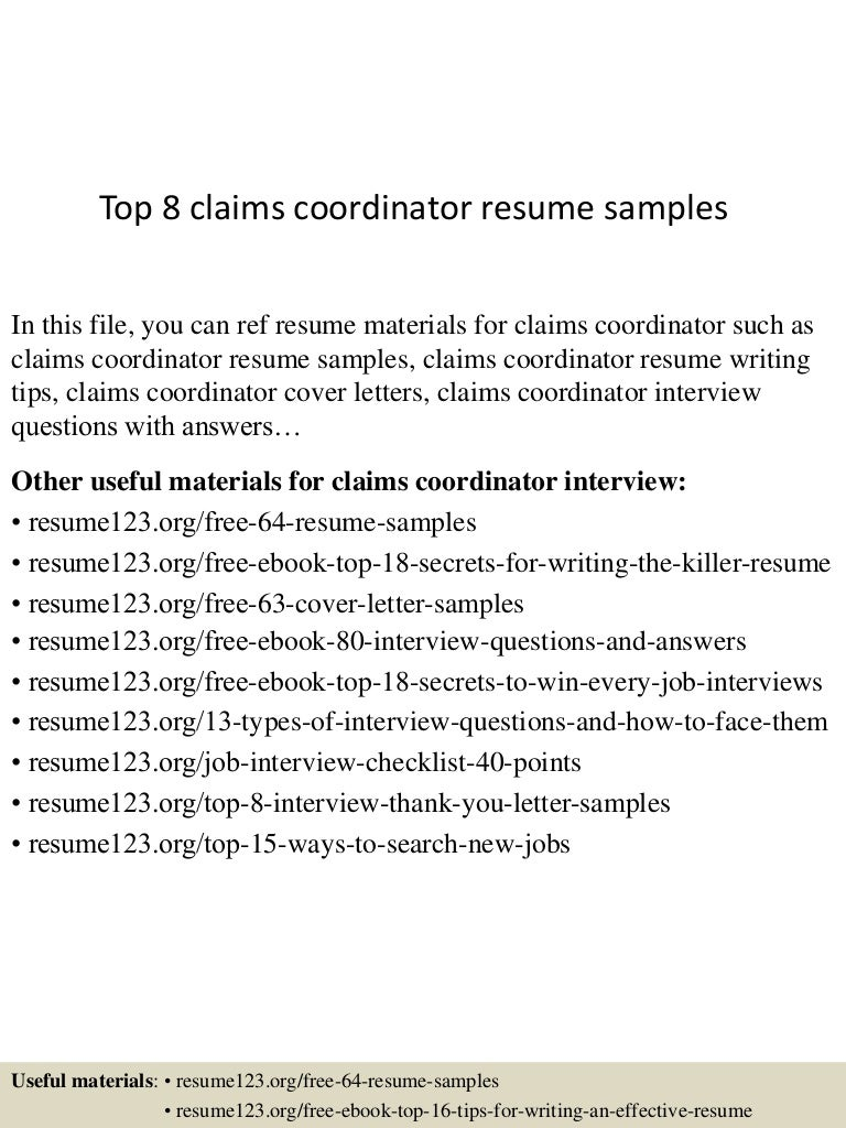 top 8 claims coordinator resume samples