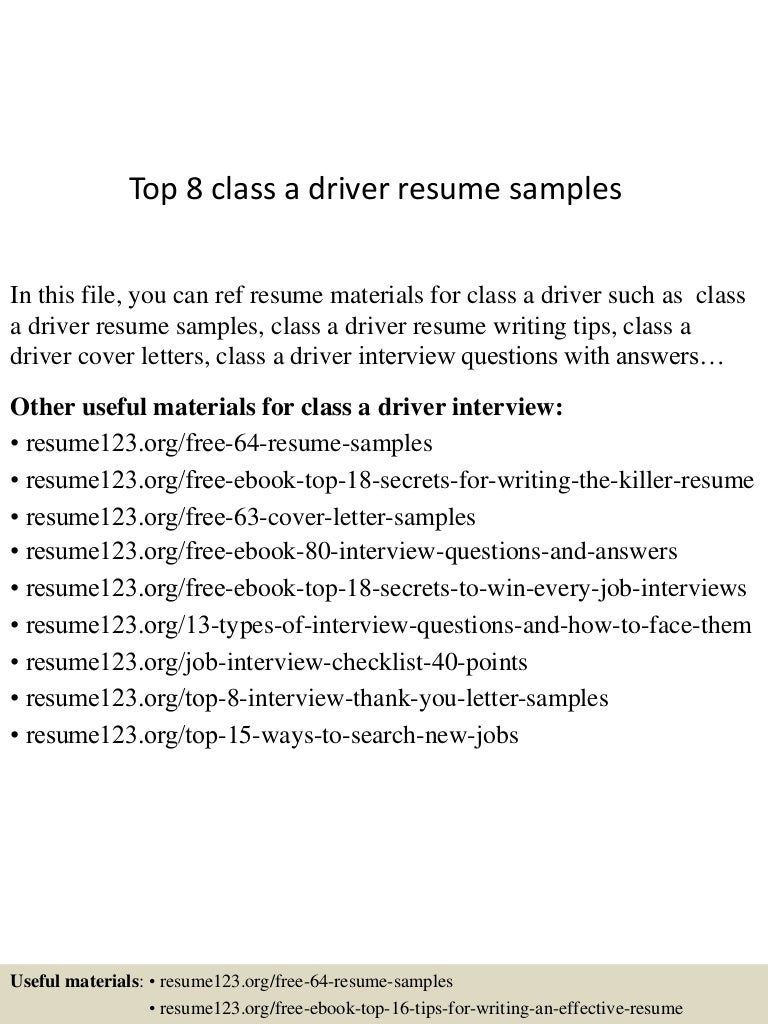Top 8 class a driver resume samples