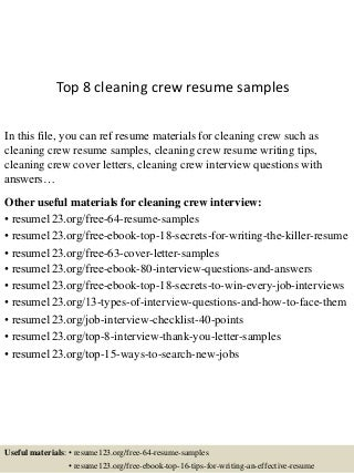 Top 8 cleaning crew resume samples