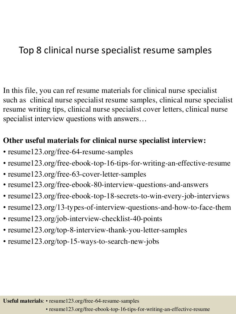 Top8clinicalnursespecialistresumesamples 150331214939 Conversion Gate01 Thumbnail 4?cbu003d1427856623