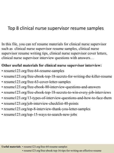 nurse supervisor resume