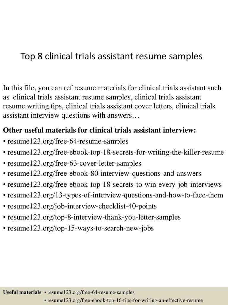 Top 8 clinical trials assistant resume samples