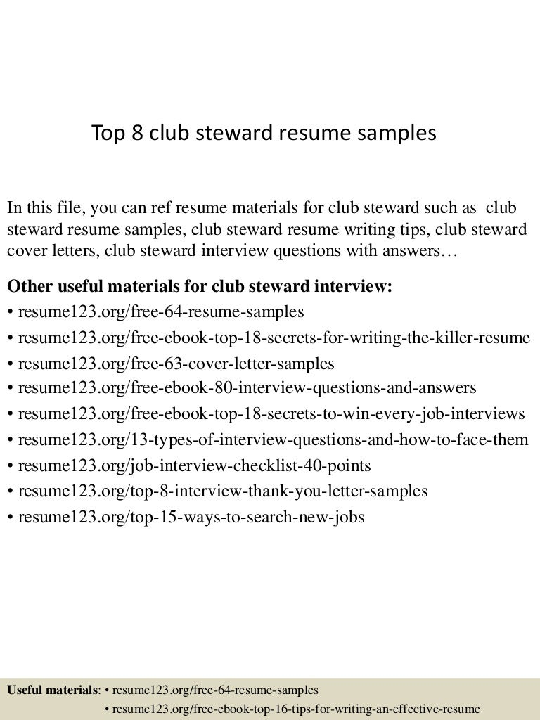 Top 8 club steward resume samples