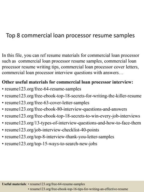 resume for loan processor