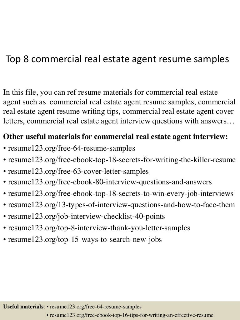 resume Commercial Real Estate Resume top8commercialrealestateagentresumesamples 150527135238 lva1 app6892 thumbnail 4 jpgcb1432734808