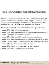 Top 8 communications strategist resume samples