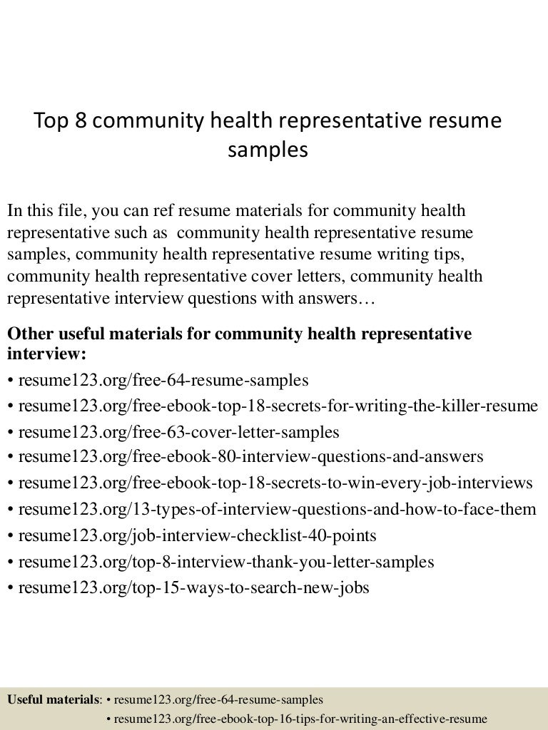 resume Community Health Resume top8communityhealthrepresentativeresumesamples 150528090412 lva1 app6891 thumbnail 4 jpgcb1432803971