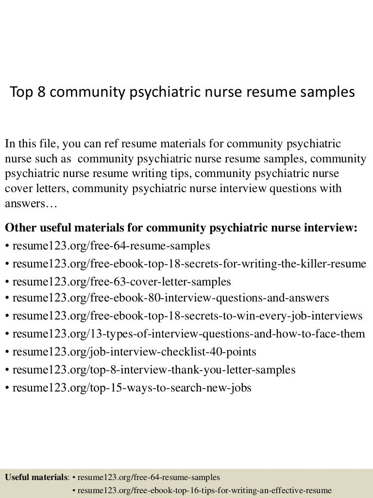 4jpgcb1433251794 top8communitypsychiatricnurseresumesamples 150602132905 lva1 app6892 thumbnail 4 top 8 community psychiatric nurse resume samples - Psychiatric Nurse Cover Letter