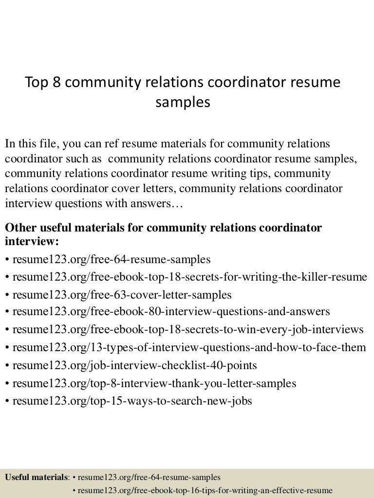 resume Community Relations Manager Resume top8communityrelationscoordinatorresumesamples 150511064416 lva1 app6892 thumbnail 4 jpgcb1431326704