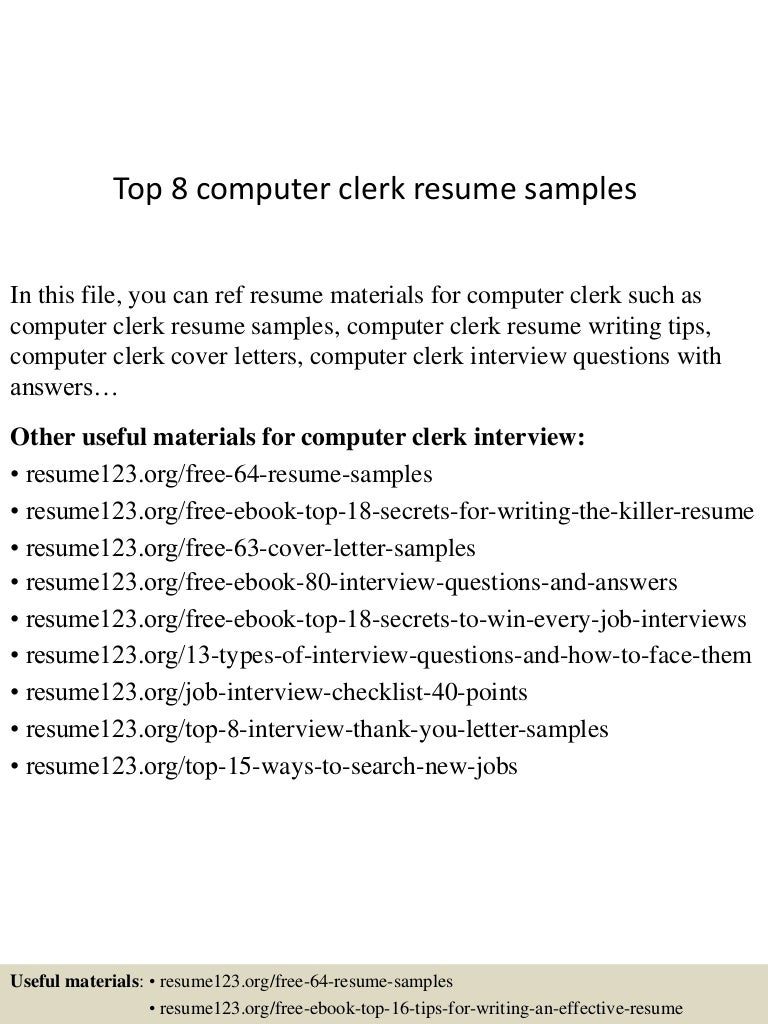... 4jpg?cbu003d1432961049 Top8computerclerkresumesamples 150530044321 Lva1  App6891 Thumbnail 4 Top 8 Computer Clerk Resume Samples Computer Clerk  Cover Letter