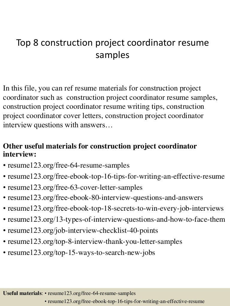 Resume Construction Project Coordinator Resume Sample top8constructionprojectcoordinatorresumesamples 150331221818 conversion gate01 thumbnail 4 jpgcb1427858341