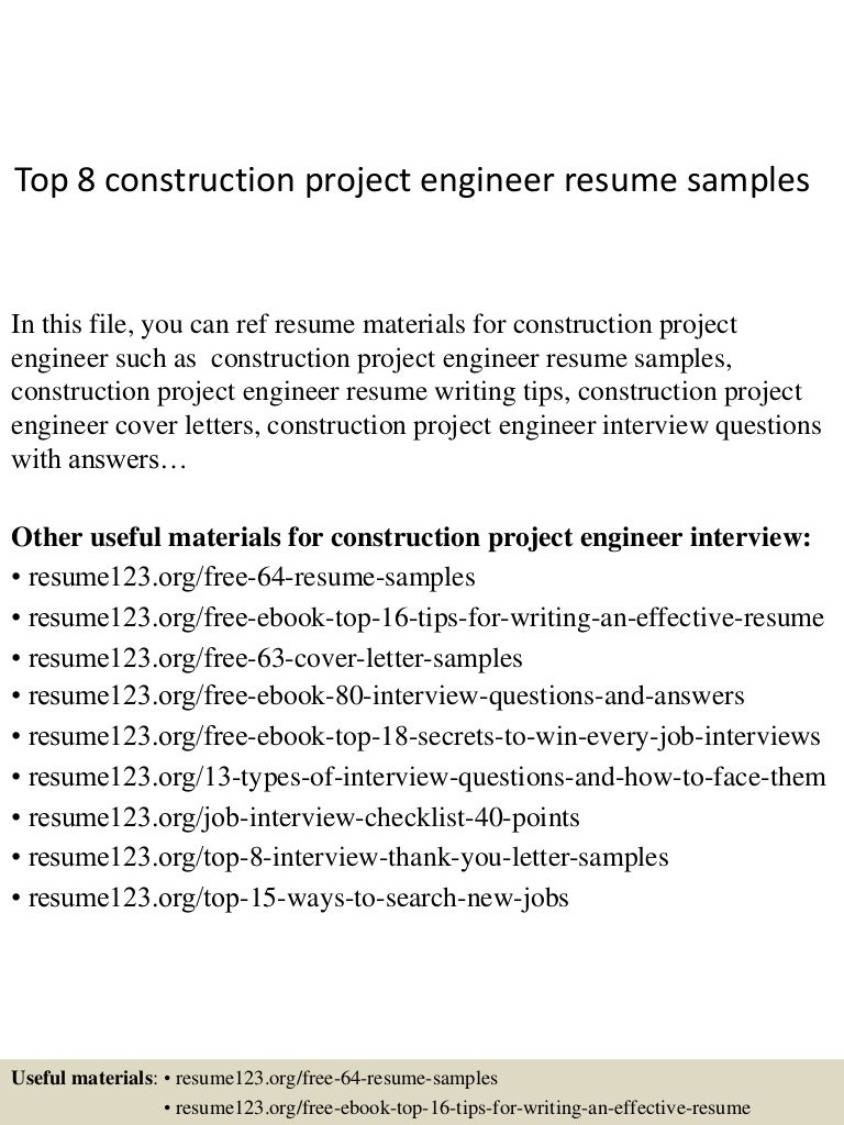 Top 8 construction project engineer resume samples