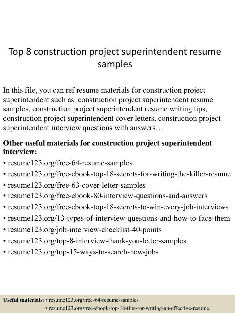 top8constructionprojectsuperintendentresumesamples 150730021719 lva1 app6891 thumbnail 4jpgcb1438222685 - Construction Superintendent Resume Sample