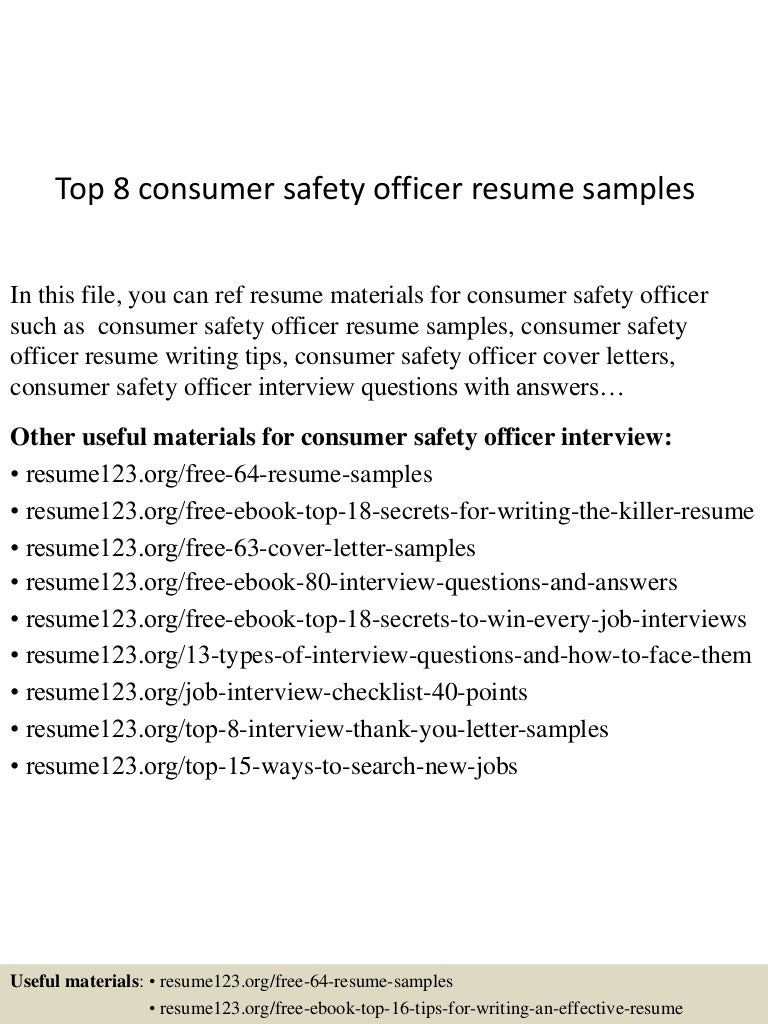 Safety Officer Cv Commonpenceco Top8consumersafetyofficerresumesamples  150616065658 Lva1 App6891 Thumbnail 4 Safety Officer Cv  Safety Officer Resume