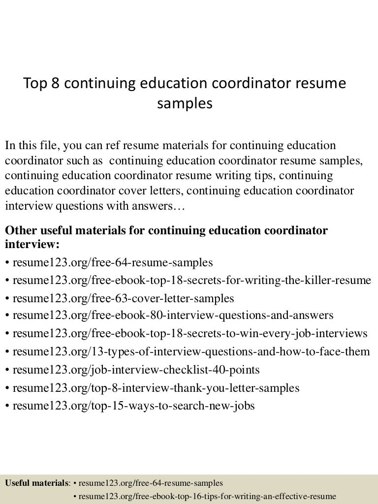 Cover Letters For Continuing Education Coordinator