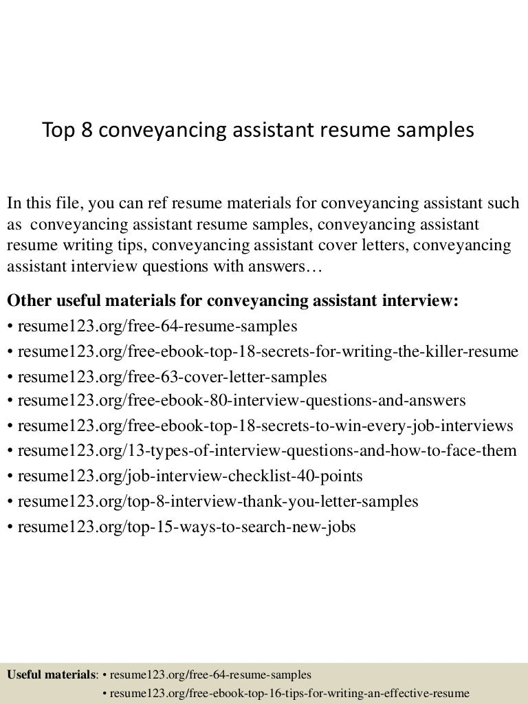 top 8 conveyancing assistant resume samples
