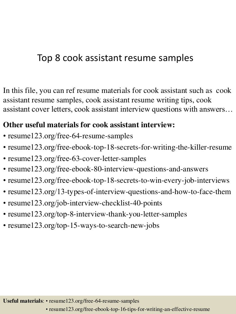 top8cookassistantresumesamples 150516014021 lva1 app6891 thumbnail 4jpgcb1431740473 - Resume Sample For Cook