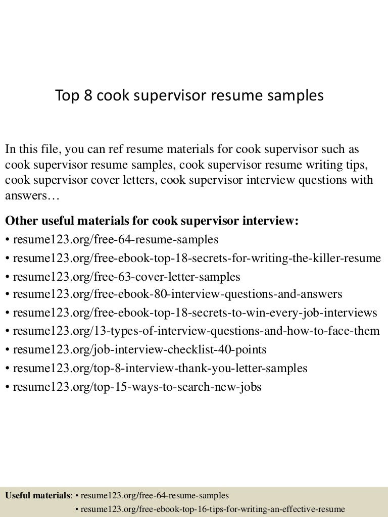 Top 8 cook supervisor resume samples