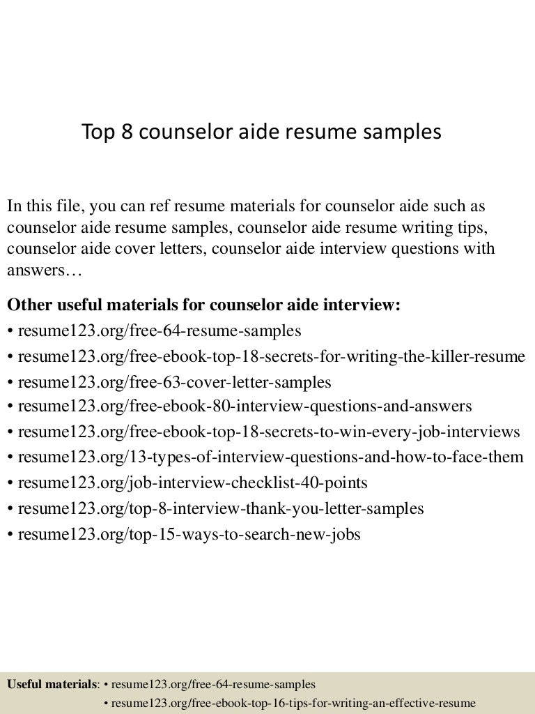 Top 8 counselor aide resume samples