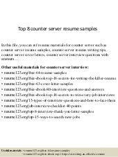 Top 8 counter server resume samples