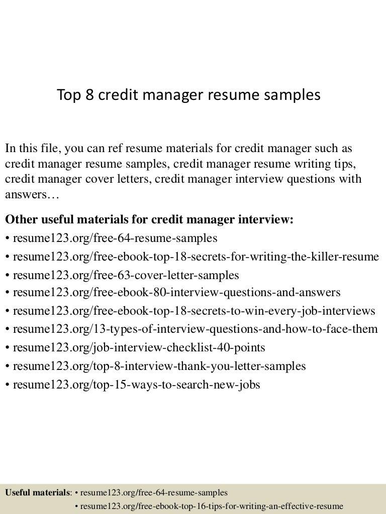 Top 8 credit manager resume samples