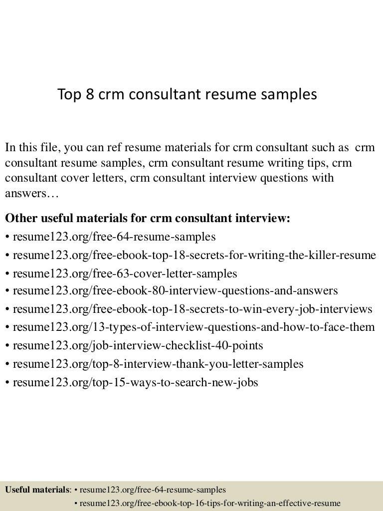 Resume Sample Resume Crm Consultant top8crmconsultantresumesamples 150508093438 lva1 app6892 thumbnail 4 jpgcb1431077729