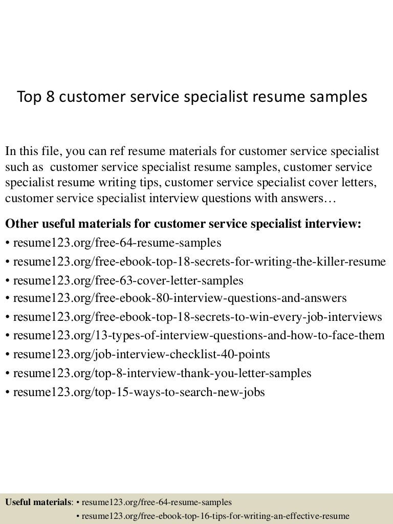 top8customerservicespecialistresumesamples 150424214916 conversion gate01 thumbnail 4 jpg cb 1429930206