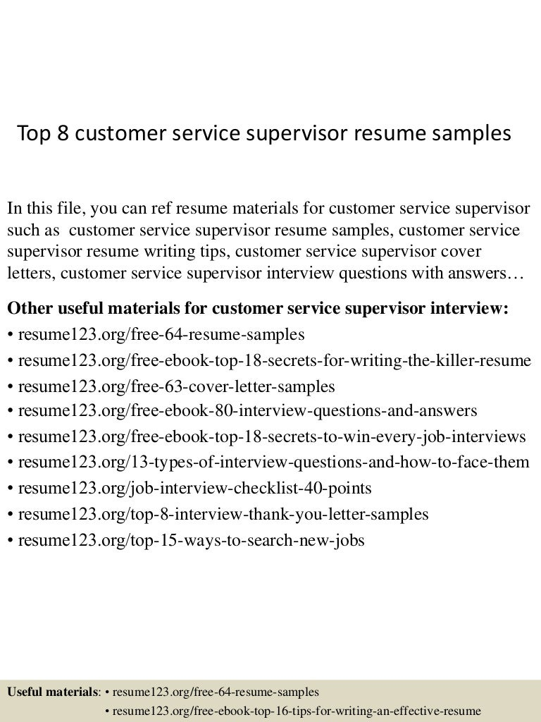 Resume For Customer Service Supervisor - A Good Resume Example •