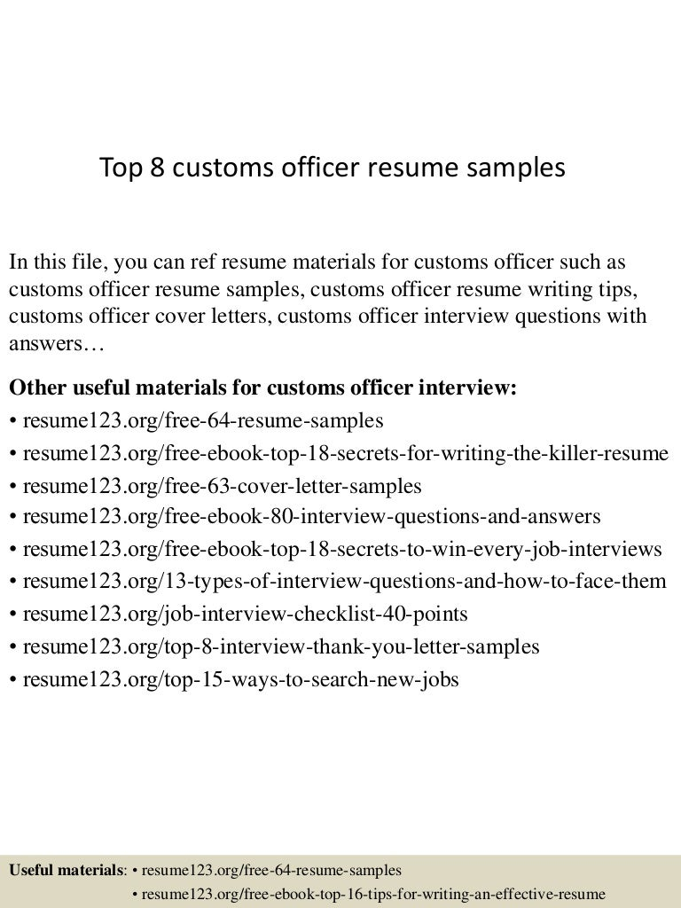 top 8 customs officer resume samples