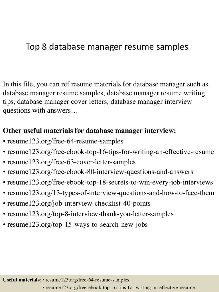 top8databasemanagerresumesamples 150331211213 conversion gate01 thumbnail 4 jpg cb 1427854381