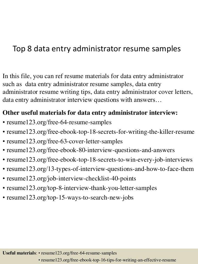 data entry administrator sample resume resumer cover letter data entry administrator sample resume data entry administrator sample resume