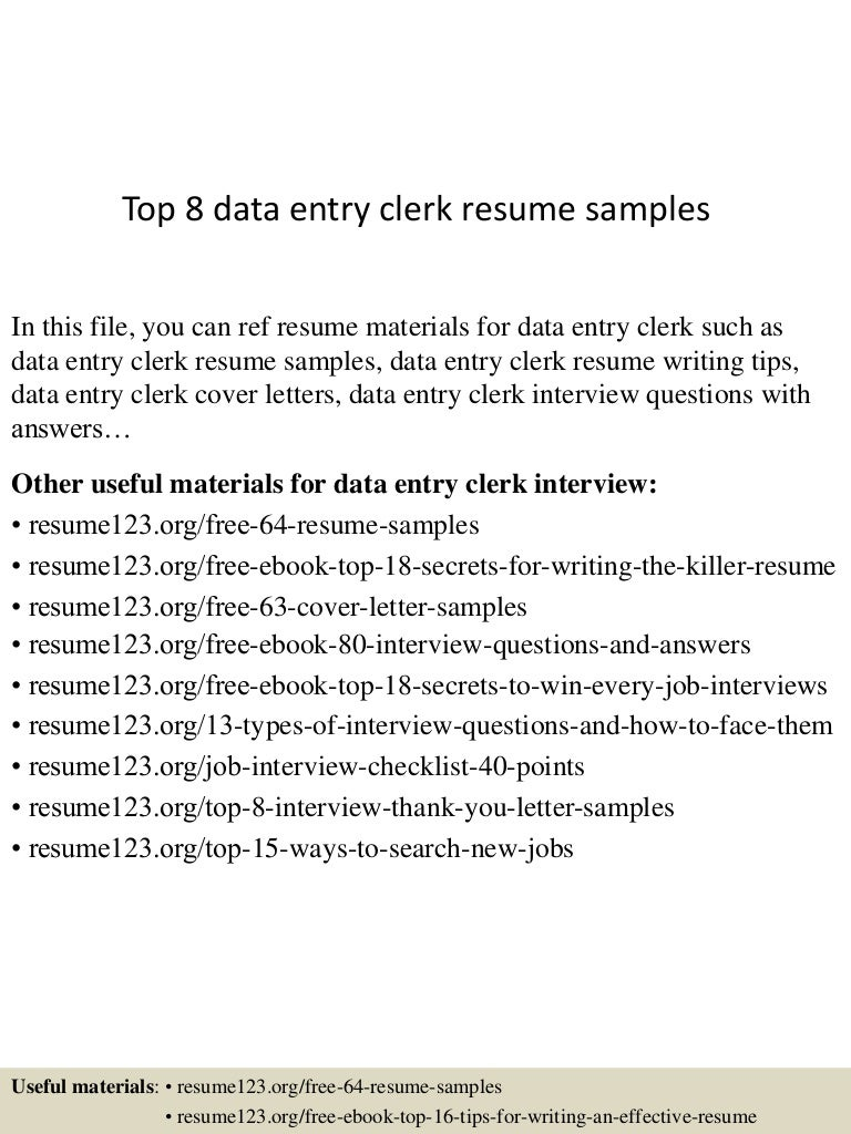 Resume Sample Resume For Data Entry Clerk top8dataentryclerkresumesamples 150424221338 conversion gate01 thumbnail 4 jpgcb1429931666