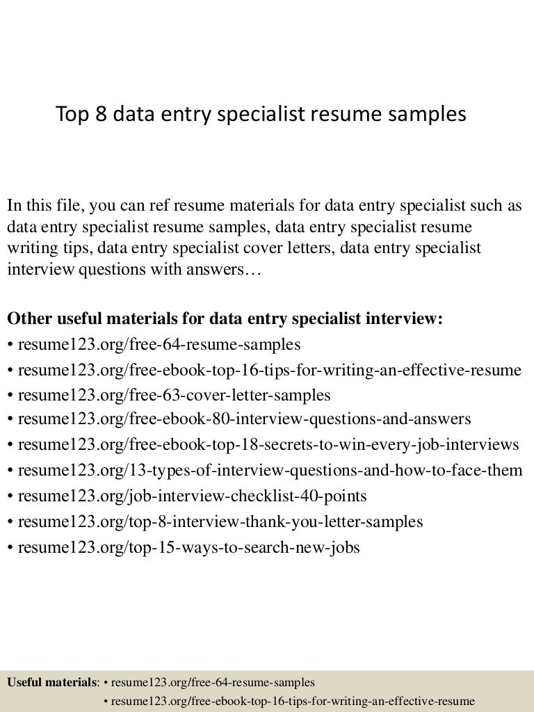 data entry specialist sample resume data entry specialist sample resume sample resume for data entry