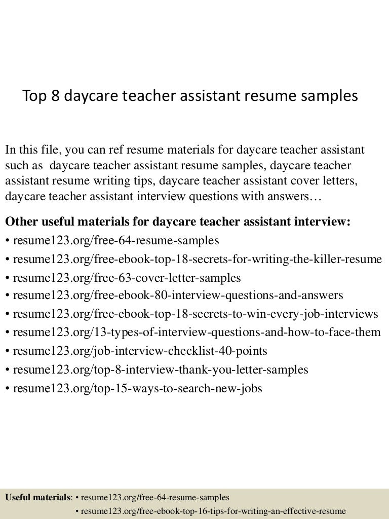 resume teacher assistant cipanewsletter top8daycareteacherassistantresumesamples 150507163955 lva1 app6892 thumbnail 4 jpg cb u003d1431016849 from