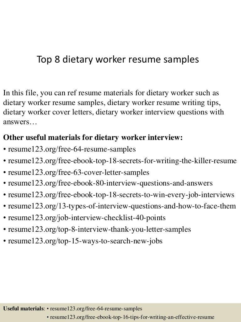 Top 8 dietary worker resume samples