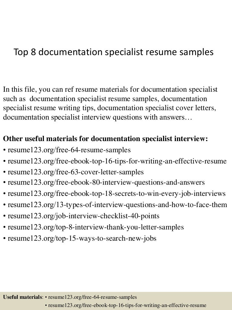 Top 8 documentation specialist resume samples