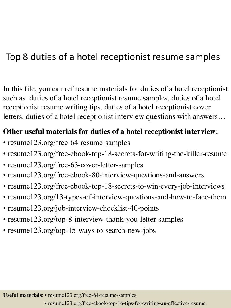 Hotel Cover Letter Sample Cover Letter For Receptionist In Hotels