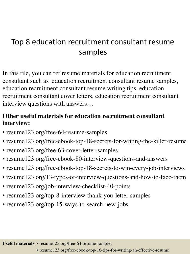 topeducationrecruitmentconsultantresumesamples lva app thumbnail jpg cb