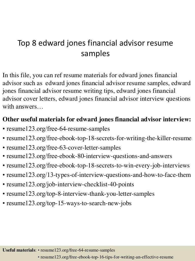 top edward jones financial advisor resume samples