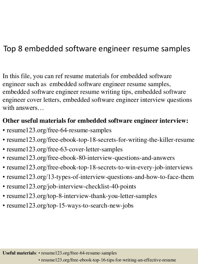 resume Embedded Resume top8embeddedsoftwareengineerresumesamples 150514014121 lva1 app6891 thumbnail 4 jpgcb1431567724
