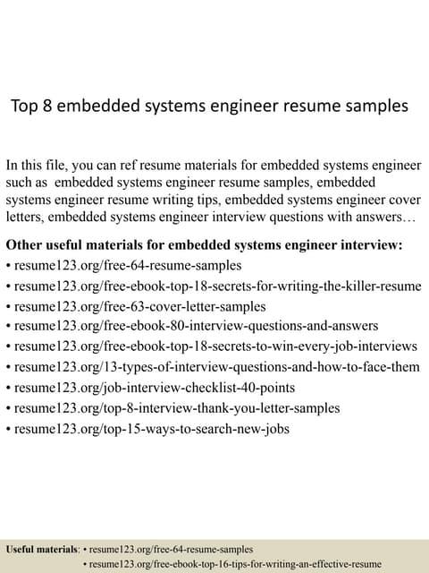 resume - Embeded System Engineer Sample Resume